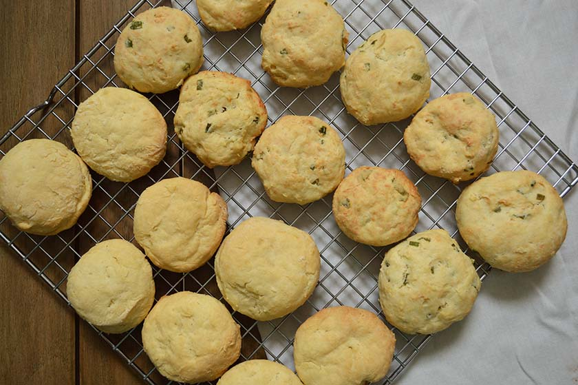 sour cream biscuit and cheddar green onion biscuits