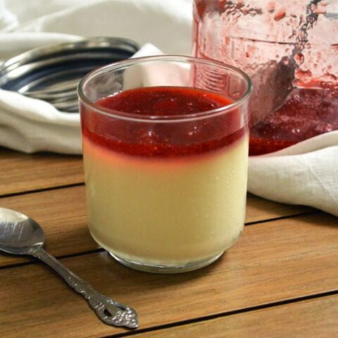 yogurt panna cotta with strawberry jam topping