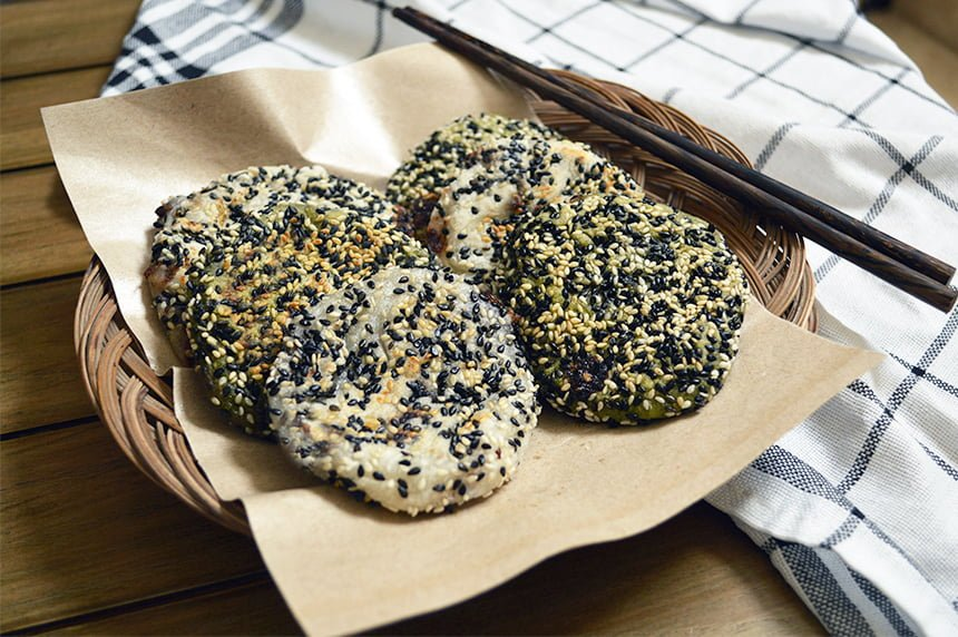 red bean and sesame rice cake