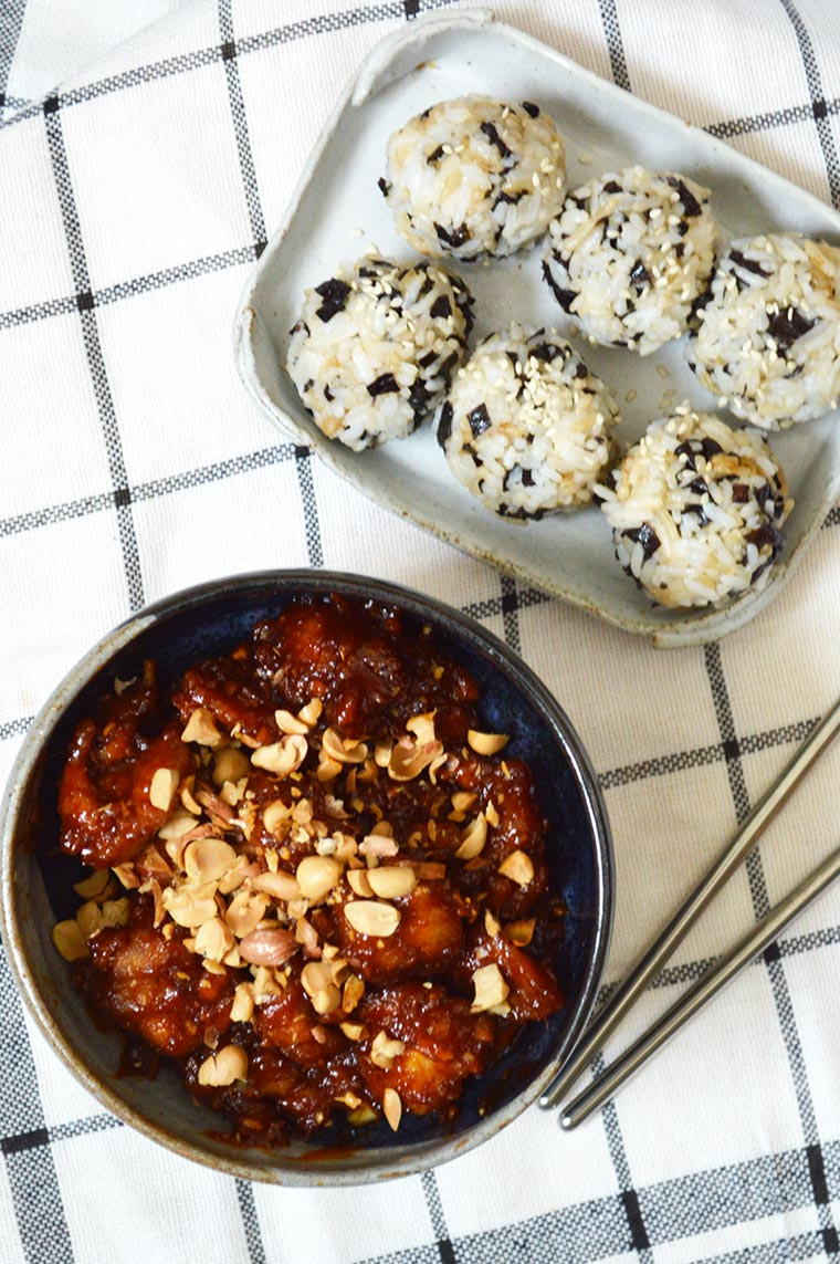 dakgangjeong with seaweed rice balls