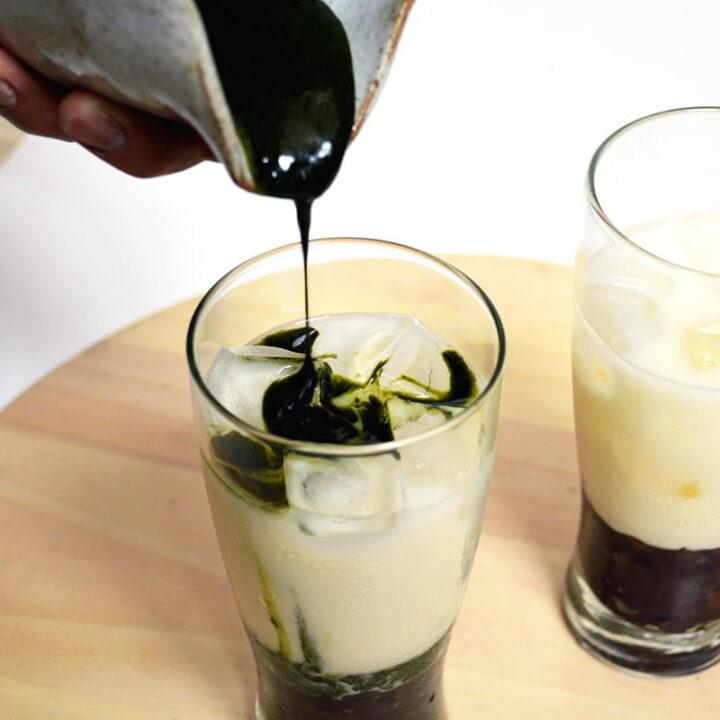 iced matcha milk tea with red bean