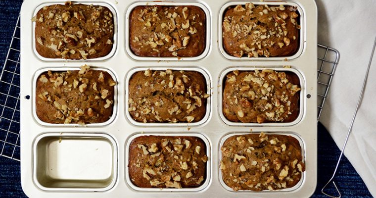 Mini Walnut Banana Bread Loaves