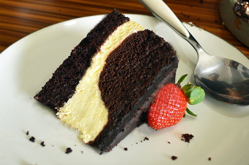 Steamed Chocolate Cream Cheese Layered Cake