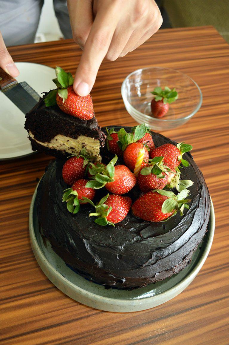 steamed chocolate cream cheese cake