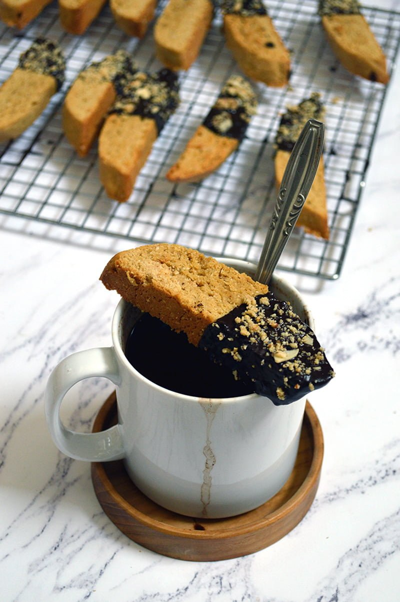 chocolate dipped almond biscotti with coffee