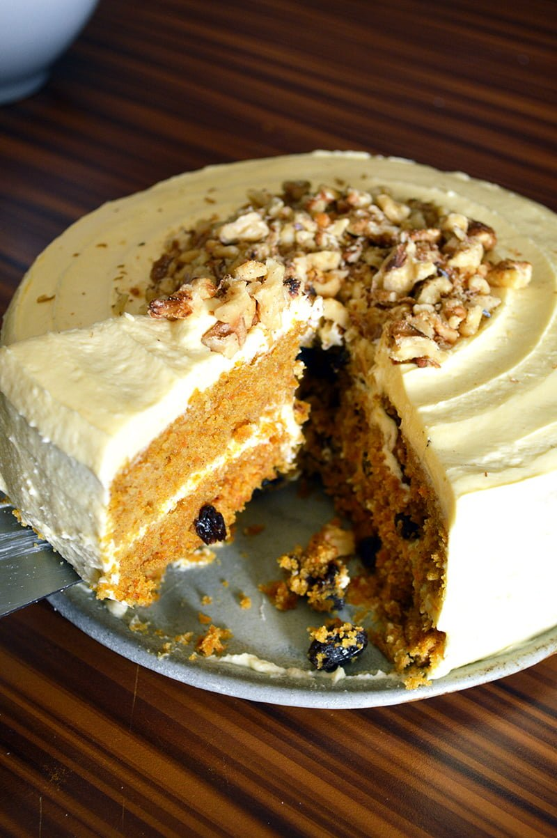 Steamed Carrot Cake with Cream Cheese Frosting