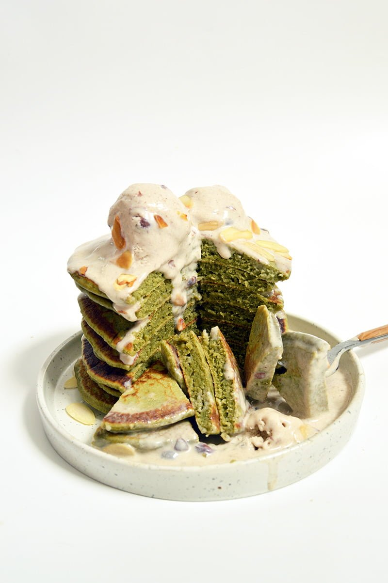 matcha pancakes with red bean ice cream