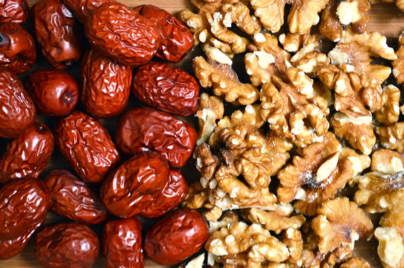 red dates and walnuts