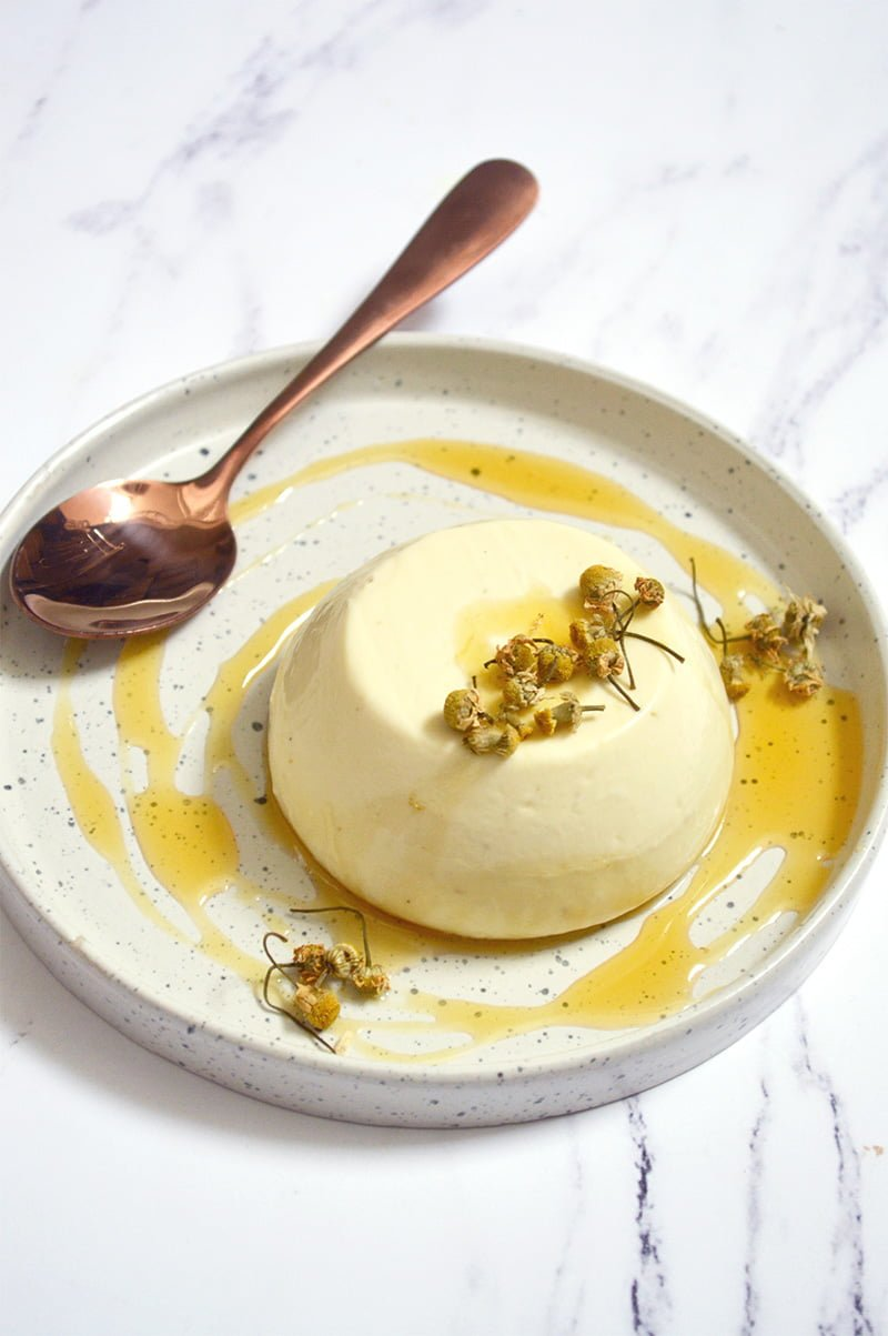 chamomile panna cotta with honey drizzle