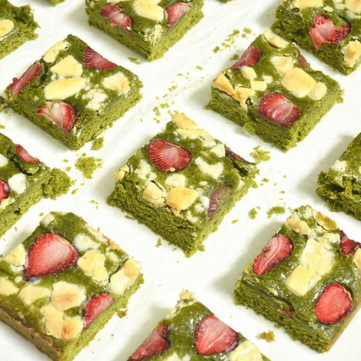 matcha brownies with strawberry slices and white chocolate chunks