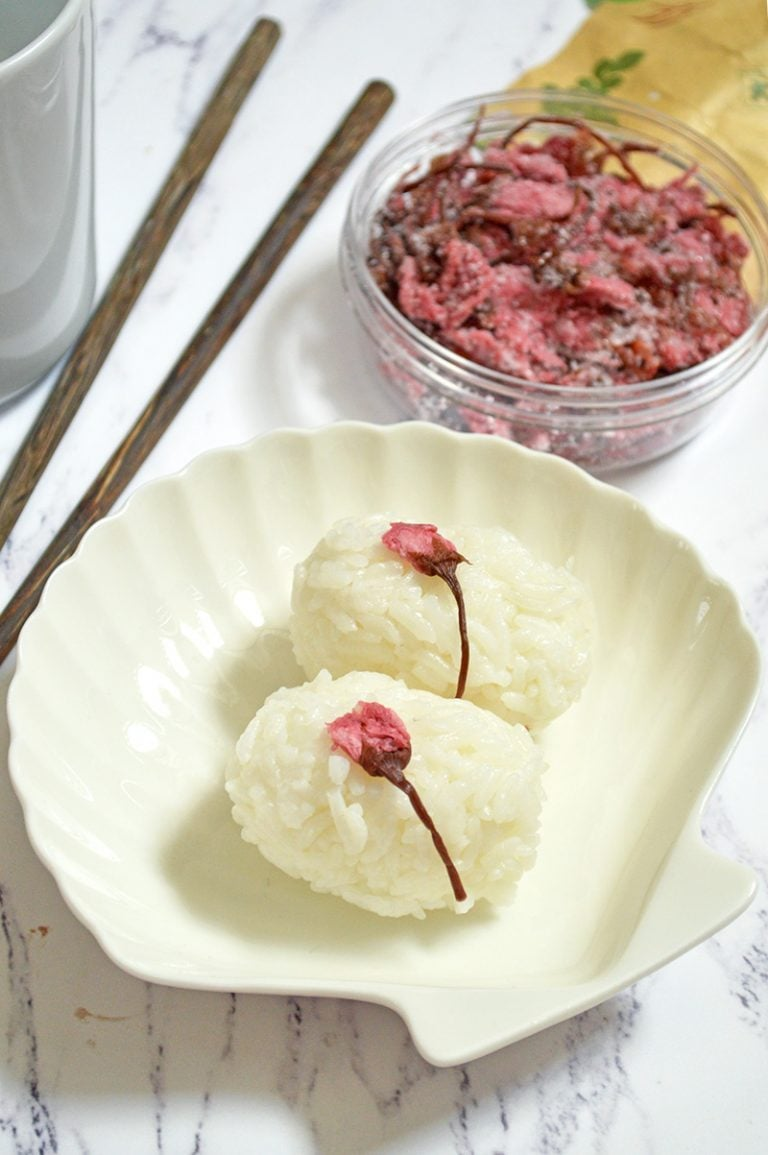 rice balls with salted cherry blossom on top
