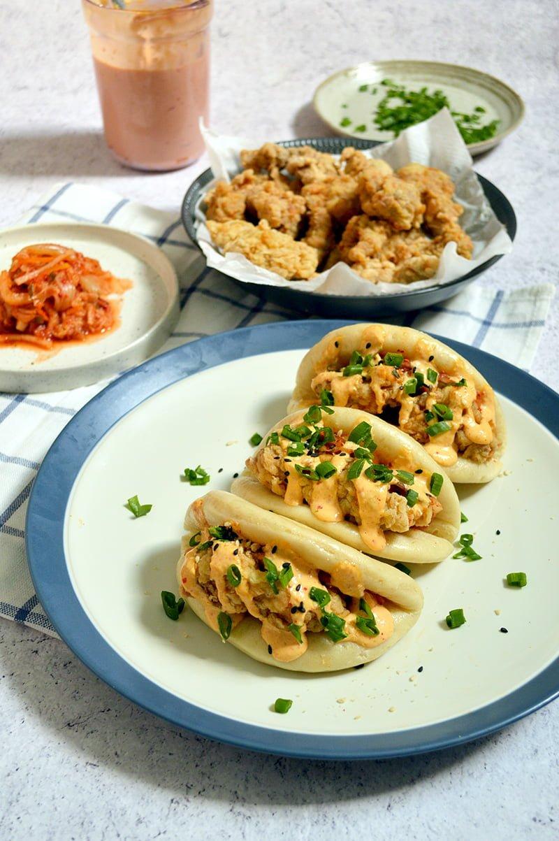 chicken kimchi mayo steamed buns