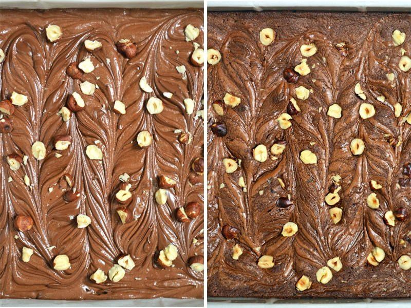 nutella brownies before and after baking