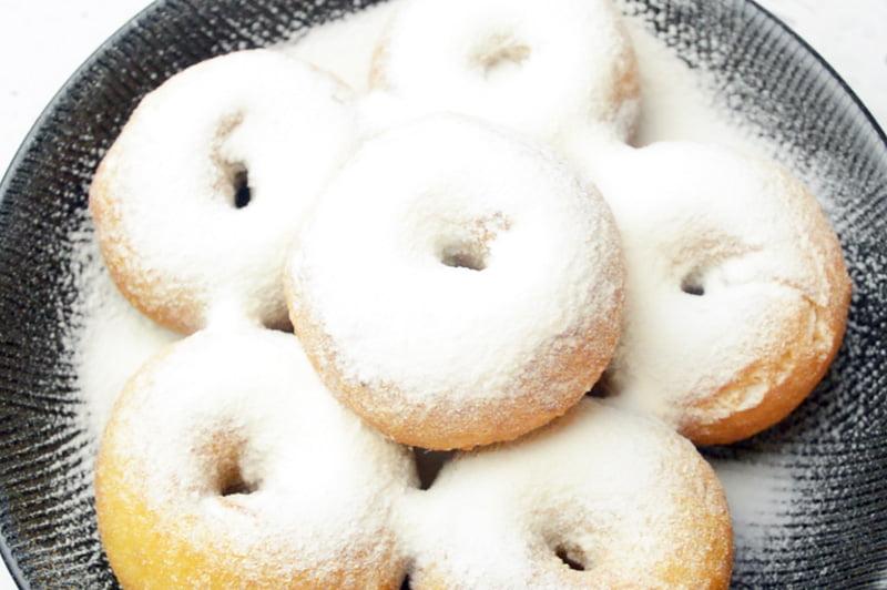 potato doughnuts with powdered sugar