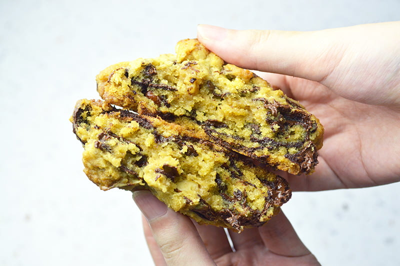 inside super thick chocolate chip cookies