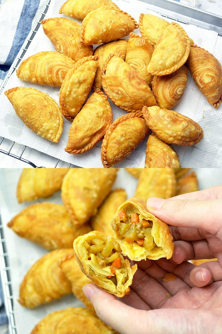spiral curry puffs with japanese curry filling