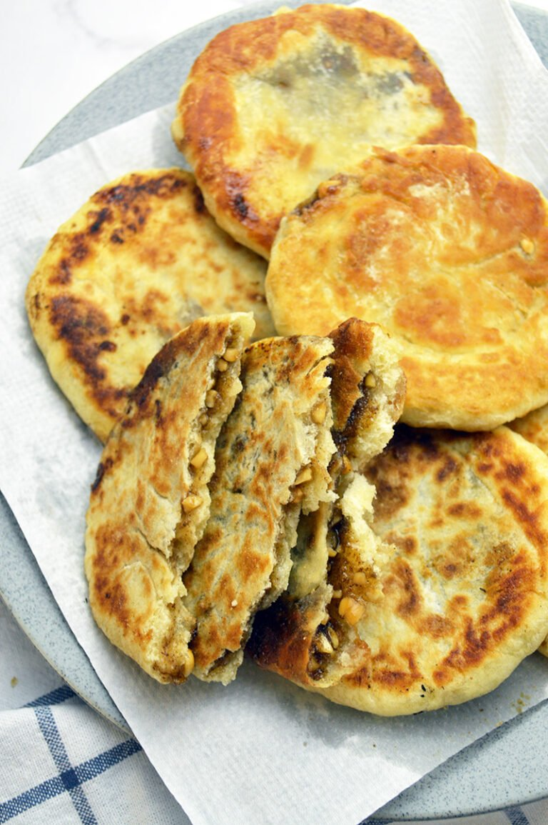 pancake with brown sugar and nut filling