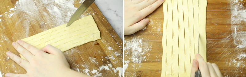 cutting slits on puff pastry