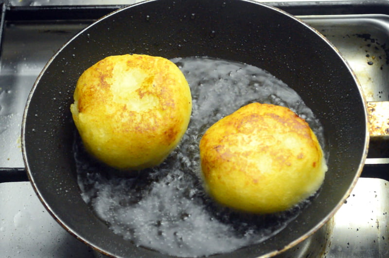 frying potato cheese pancakes