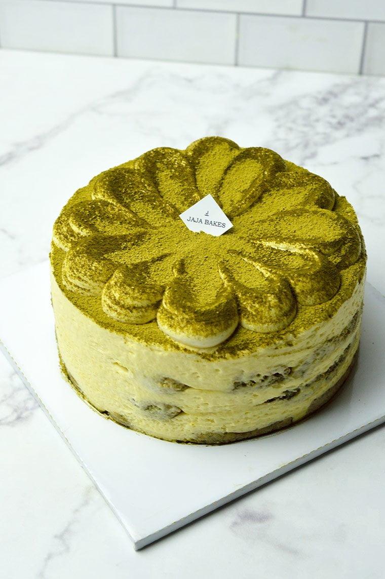 eggless matcha tiramisu cake