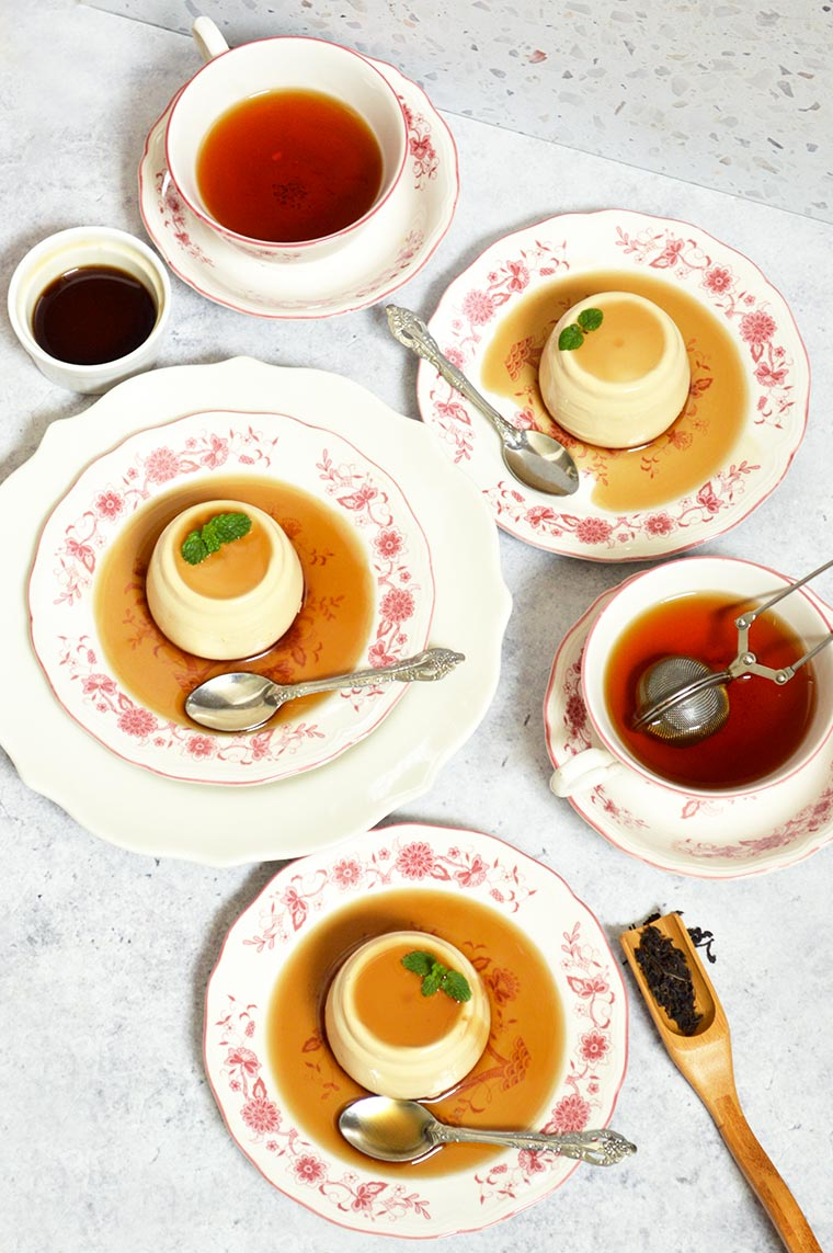 milk tea panna cotta with brown sugar syrup
