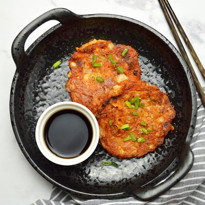 tuna kimchi pancakes