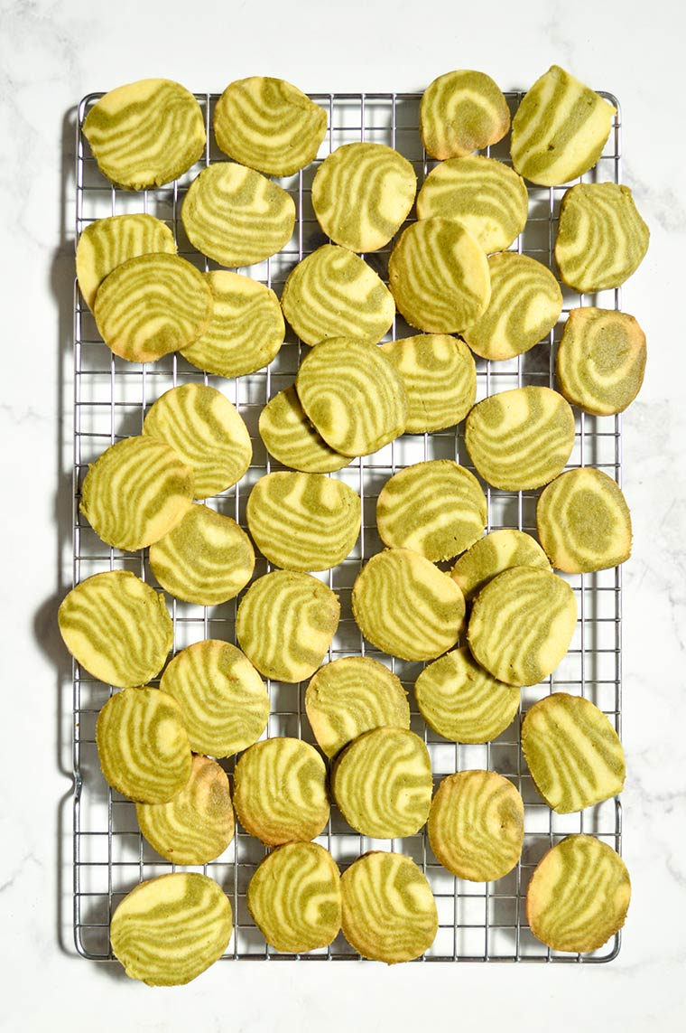 zebra striped matcha shortbread cookies