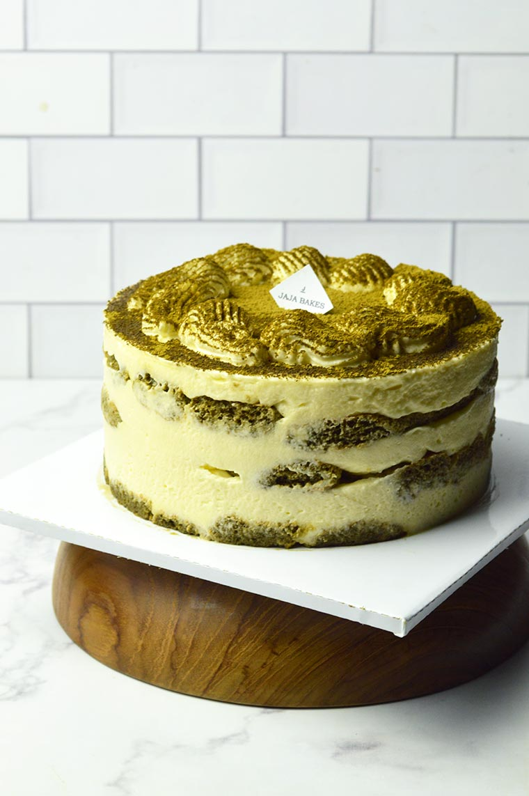 eggless hojicha tiramisu cake