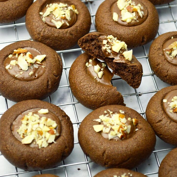 chocolate nutella thumbprint cookies