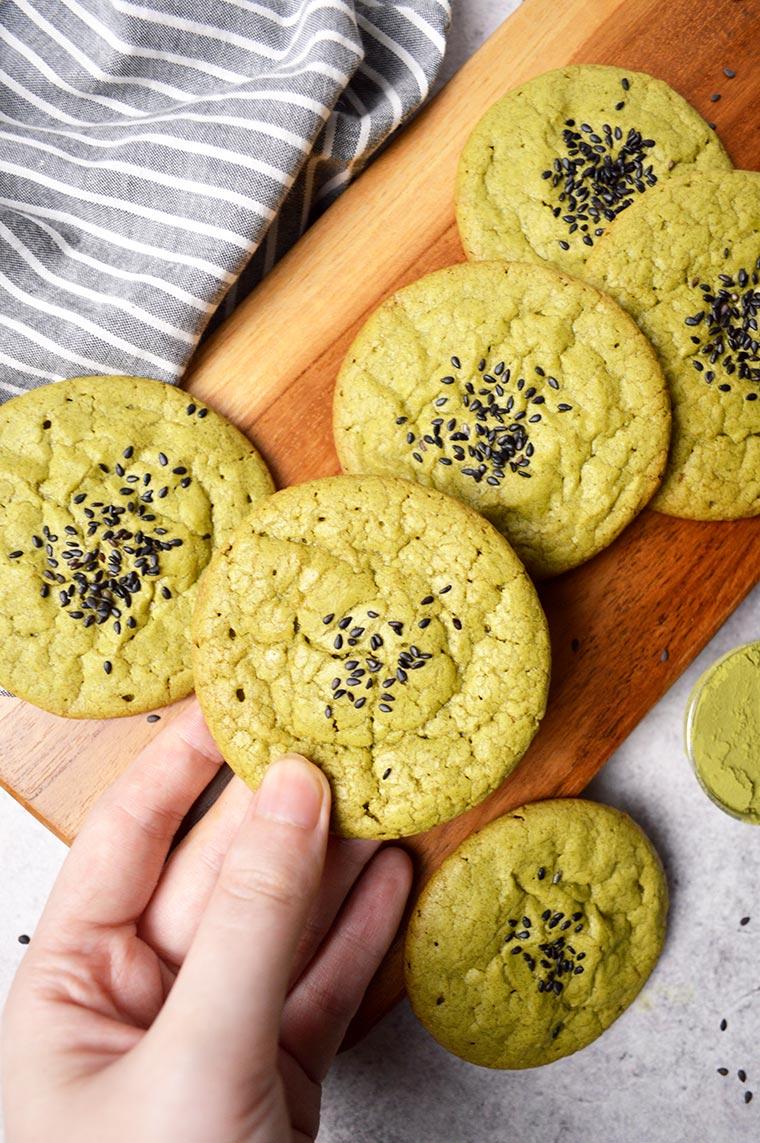 matcha brownie cookies with black sesame seeds