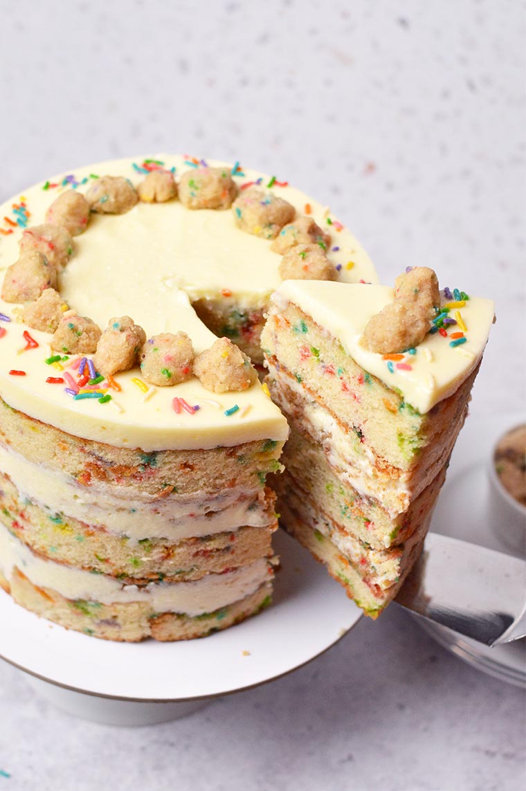 confetti vanilla cake with cream cheese buttercream frosting and crunchy crumbs