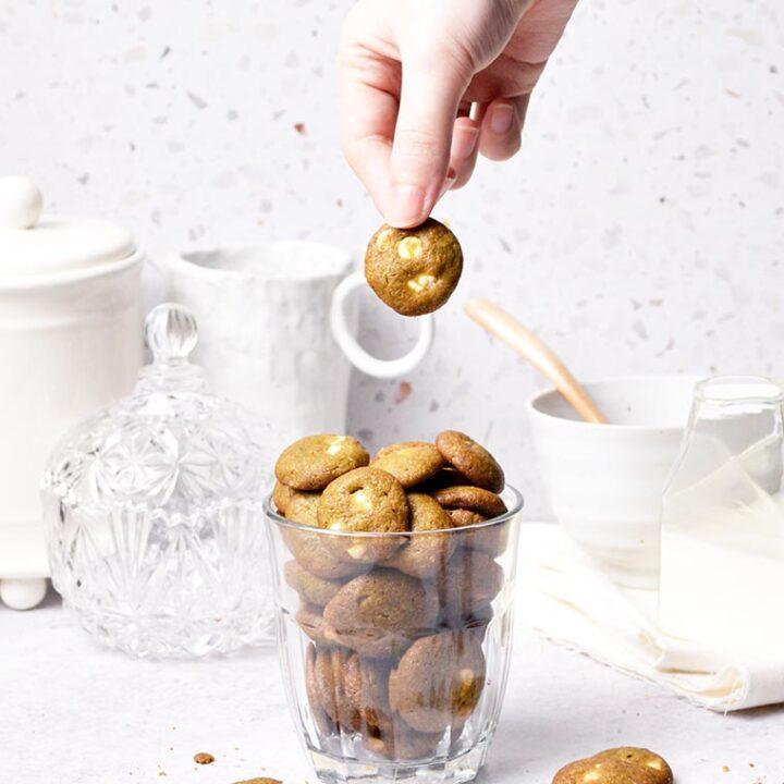 mini crunchy matcha white chocolate chip cookies